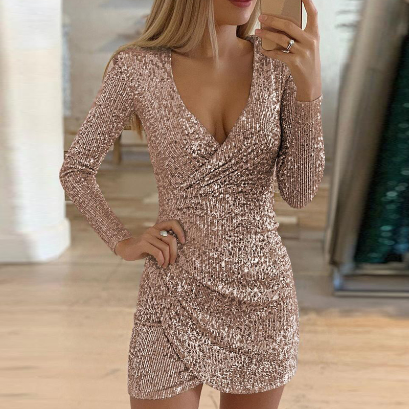 VIEUNSTA Sexy Silver Glitter Dresses for Women 2019 Deep V-Neck Sequin Mini Bodycon Dress Autumn Winter Long Sleeve Party Dress 1