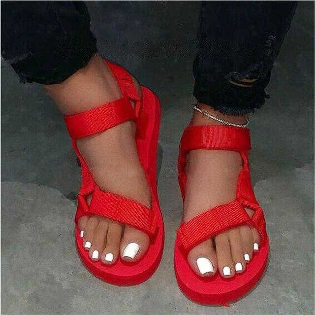 Summer Soft Slip Sandals 2020 Women Buckle Strap Foam Sole Durable Sandals Ladies Outdoor Casual Beach Shoes Woman Plus Size 45 2