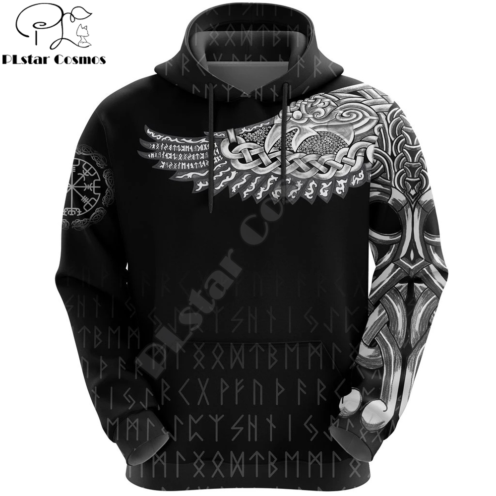 Vikings The Raven Tattoo All-Over Print 3D Hoodie And Sweatshirt Harajuku Fashion Hoodies Unisex Casual Jacket Pullover DW0023