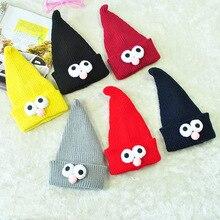 Зимние вязаные шапки с большими острыми глазами для мальчиков и девочек, милая мультяшная вязаная детская шапка, детская шапочка