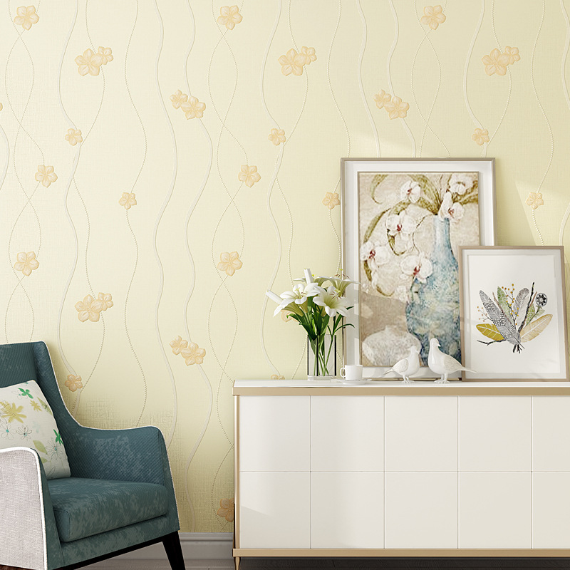 Lehmann 3D Hipster Bedroom Non-woven Wallpaper Bump Fine Embossing Pastoral Style Small Flower Living Room Wallpaper Wholesale