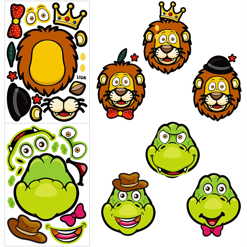 8/4sheets Children DIY Stickers Make Your Own Face Puzzle Sticker Games Cartoon Animal Princess Fun Gift For Kids Creative Toys 4