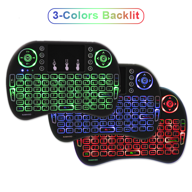 RAMAIGO <font><b>i8</b></font> <font><b>keyboard</b></font> backlit English Air Mouse 2.4GHz Wireless <font><b>Keyboard</b></font> Touchpad Handheld Li-ion Battery for TV BOX Android X96 image