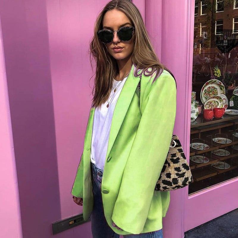 Women Slim Blazers Jacket Long Sleeve Female Work Office Lady Business Slim Blazer Coat 2020 Elegant Pockets Jackets Black Green