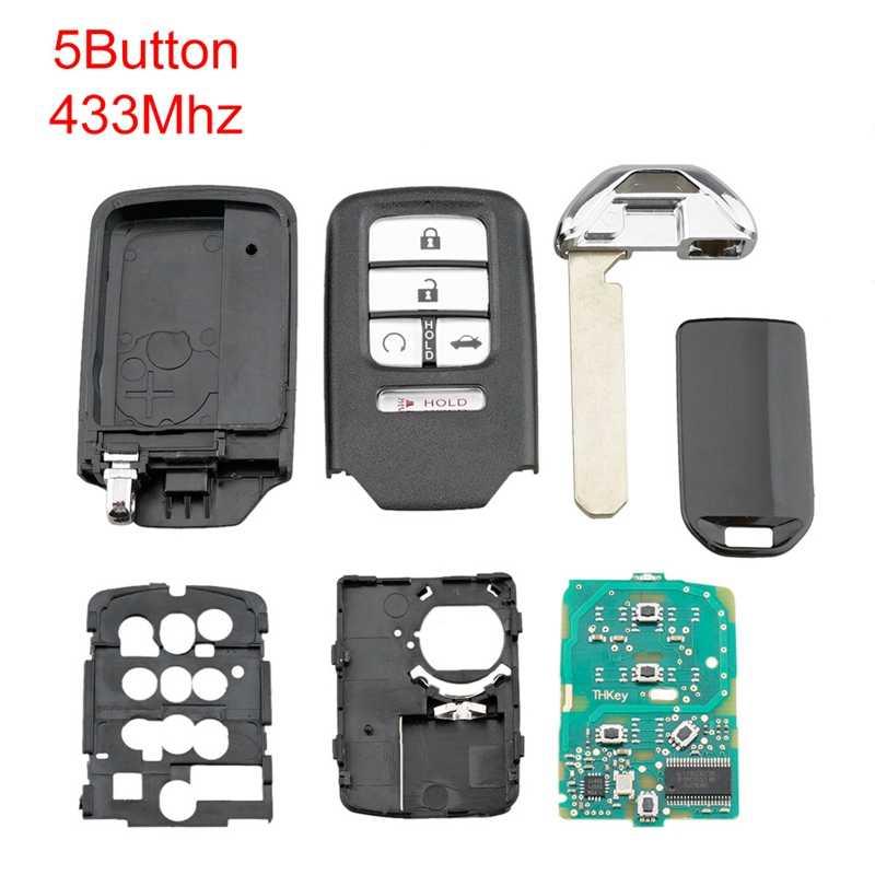 Carro inteligente remoto chave 5 botões carro chave fob apto para honda civic 2016 2017 2018 433 mhz