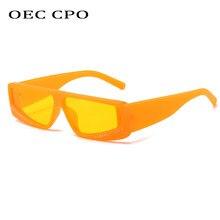 OEC CPO Vintage Rectangular gafas De sol De las mujeres amarillo, naranja De moda gafas De sol De mujer Sexy gafas cuadradas hombres UV400 Oculos De que