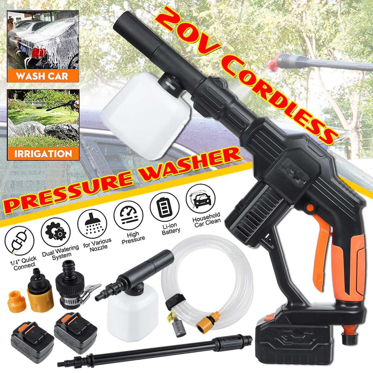 "21V Wireless High Pressure Cleaner Universal 1/4"" Fitting Cordless Portable Pressure Cleaner for Car Cleaning