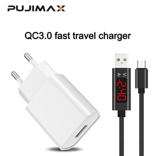 PUJIMAX USB Charger 3.0 Fast phone with 1M Voltage and Current Intelligent Display cable for Samsung HTC Xiaomi Huawei