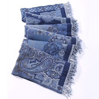 Blue Women Embroidery Shawls Artificial Cashmere Oversize Scarves Cachecol Feminino Autumn Winter Thick Imitation Cashmere фото
