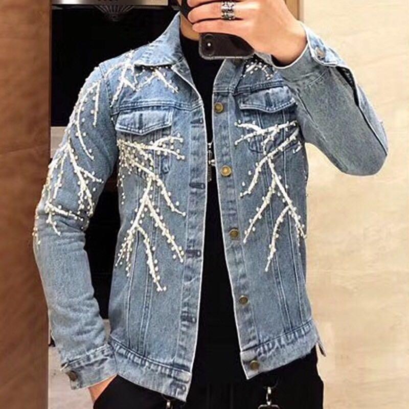 KIOVNO/джинсовые куртки с вышивкой в стиле панк и дерева, мужские уличные джинсовые куртки в стиле хип хоп с заклепками, мужские куртки в стиле
