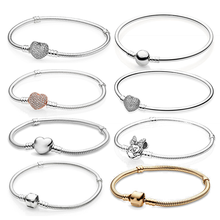 LoveRight Pan-Style Charm Women Bangle Snake Chain White Silver Plated Bracelets Blanks For Jewelry Making Beads DIY 2021 Trend