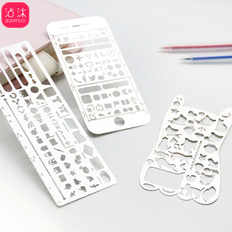 0587 Creative PDA Feet Multi-functional Flowers Mapping Ruler Hollow Out Template Students Hand Account Tool Kit Stationery