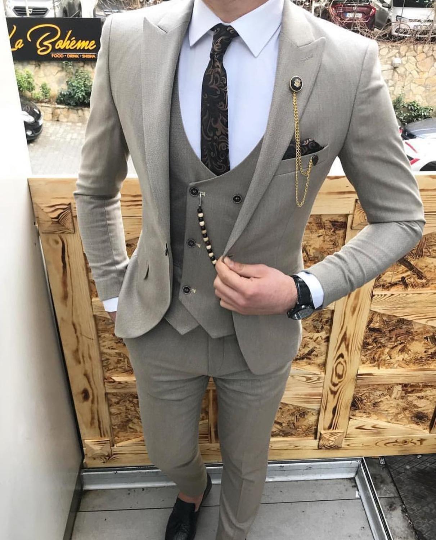 Fashion Men's Suits Slim Fit 3 Pieces Prom Tuxedos Notch Lapel Groomsmen Wedding ,Grey/Beige/Royal Blue(Blazer+Vest+Pants)