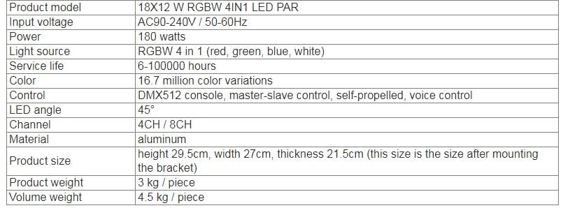 4 unidadeslotes 18*12w Luz de Alumínio LED