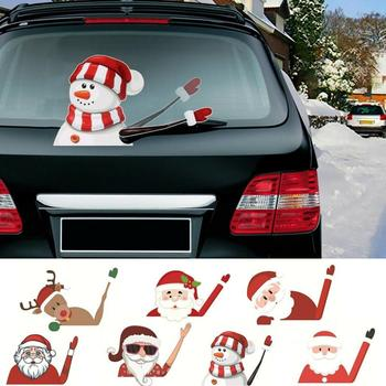 Car Windshield Sticker Christmas Santa Rocking Arm Rear Wiper Decals Hook Loops Christmas Sticker Home Christmas Decroations image