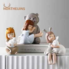 NORTHEUINS Resin Animal Girl Figurines Nordic Creative Statue Modern Minimalist Figurine for Interior Home Decoration Accessorie