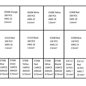 2120 шт. обжимной клеммный блок трубчатые электрические клеммы для кабеля, провода Соединительный кабель Размер 0,5-10mm2 AWG22/20/18/16/14/7
