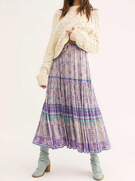 New Style Ethnic-Style Lilac Printed Elastic Waist Big Hemline Longuette Bohemian Holiday Beach Skirt