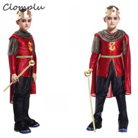 Clomplu Halloween Costume For Kids Prince Cosplay Boys Anime Party Show Holiday Kids Costume Red One Sets Tops Pants Cloak