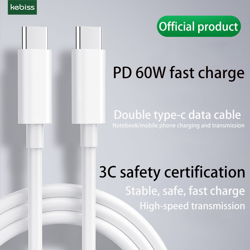 Pd cabo de dados c para c cabo de carregamento rápido tipo-c cabeça dupla 60w cabo usb de carregamento rápido c cabo usb