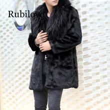 Rubilove Mens long faux fur coats 2019 winter Fox Furry Gothic thicken Long jackets leather mink jacket