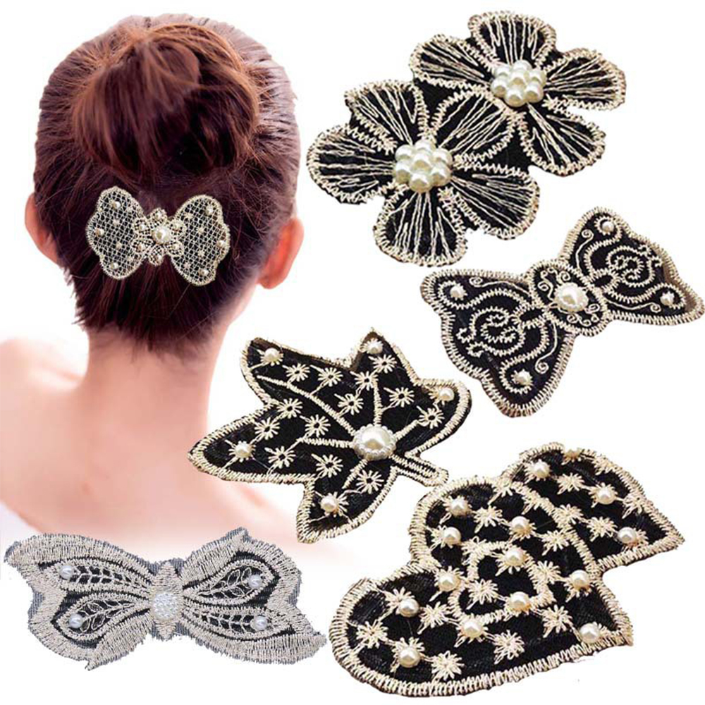 2020 Fashion Pearl Lace Bow Sticker Hair Clip For Women Bangs Fixed Seamless Magic Paste Leaves Hair Bangs Hair Accessories