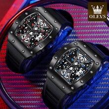 OLEVS – montres de sport pour hommes, Top marque de luxe, bracelet en caoutchouc, squelette carré, décontracté, Original, montre à Quartz, horloge étanche