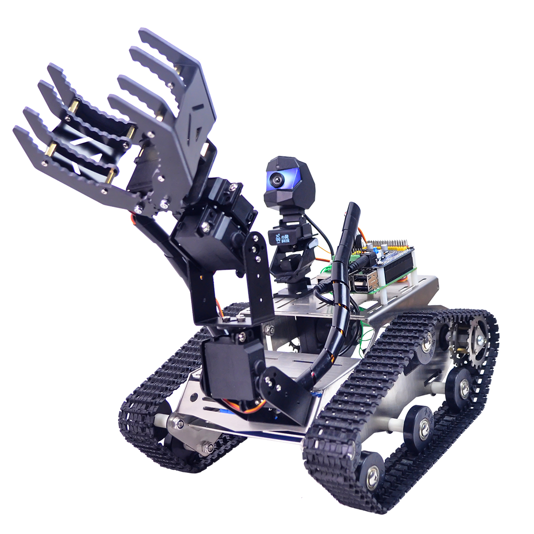 Programmable Robot DIY Wifi + Bluetooth Stainless Steel Chassis Track Tank Steam Educational Car with Arm for Raspberry Pi 3B