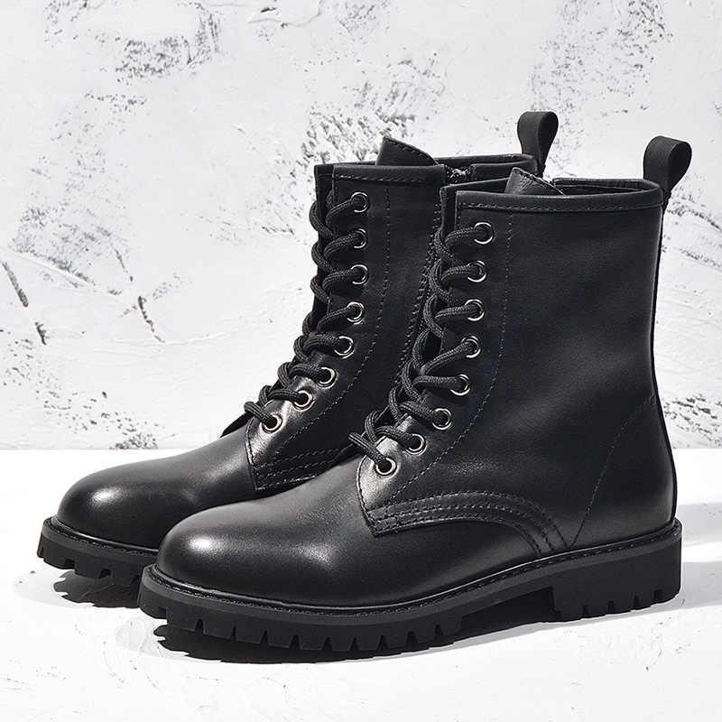 Donn-2020 yeni sonbahar kış ayakkabı kadın hakiki deri ve kürk doğal sıcak Martin çizmeler kadın dantel kadar platform ile siyah