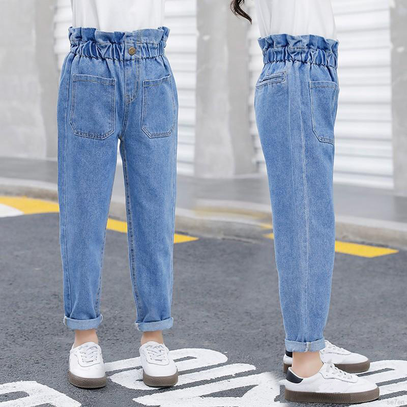 Jeans Blue Pants Trousers Material Spring Slim-Fit Girls High-Waist Denim Autumn And