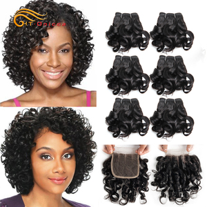 Curly Hair Bundles 8 Inch Human Hair Bundles With Closure Brazilian Closure With Bundles 6 Pcs/Lot Curly Hair
