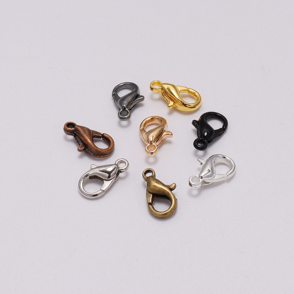 50pcs/lot 10*5mm Jewelry Findings Lobster Clasp Hooks Silver Gold Black Connector For Necklace Bracelet Chains Jewelry Making
