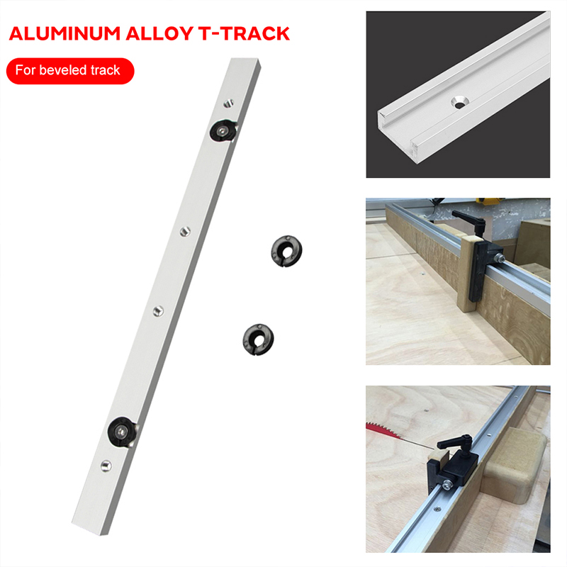 Metal Silver T Slot Slider Miter Tool Bar Hardware Modification T Tracks Durable Practical Beveled Track Pusher Limit