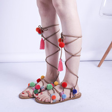 Sandals Womens Summer Roman Wind Bandage Coloured Flat-soled Shoes for Leisure