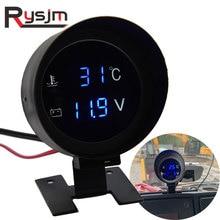 9 ~ 36V LCD do samochodu miernik temperatury wody 10 110 stopni celsjusza termometr woltomierz cyfrowy Temp i miernik napięcia 10 ~ 21mm czujnik