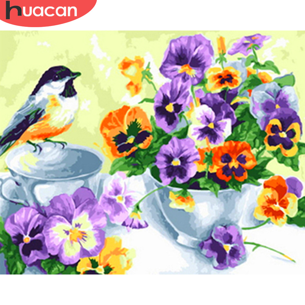 HUACAN Oil Painting By Numbers Flowers Bird DIY Canvas For Living Room Wall Art Picture Home Decoration SZGD471