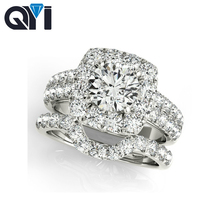 QYI 925 Sterling Silver Engagement Halo Ring Sets Round Cut 1 Carat Sona Jewelry Women Simulated Diamond Wedding Bands
