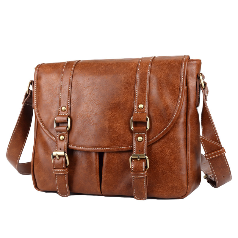 1PCS  PU Leather Men's Single-shoulder Bag, Simple And Easy-to-use, Fashionable And Fashionable Computer Bag