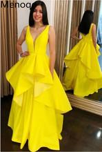 Urocze V neck żółta satynowa sukienka na studniówkę formalne suknie wieczorowe długie Sweep pociąg suknie wieczorowe sukienka bez rękawów De Soiree 2020 tanie tanio Menoqo V-neck Pociąg sweep Długość podłogi Prom dresses Satyna NONE simple Naturalne Poliester -Line