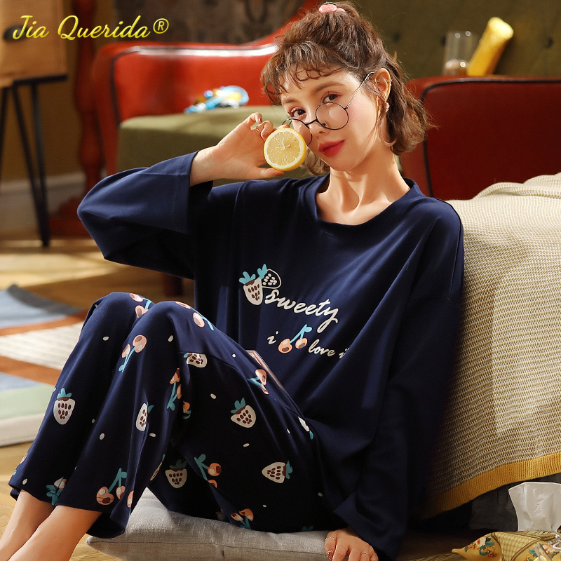 Plus Size Pajamas for Women Cotton Loungewear Strawberry Printing Two Piece Set Autumn Winter Home Clothes for Big Size Ladies