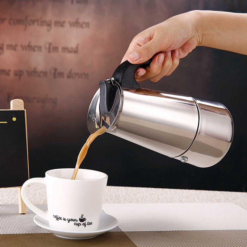 200Ml Portable Espresso Coffee Maker Moka Pot Stainless Steel with Electric Stove Filter Percolator Coffee Brewer Kettle Pot Kit|Tea Fire Stoves| |  -