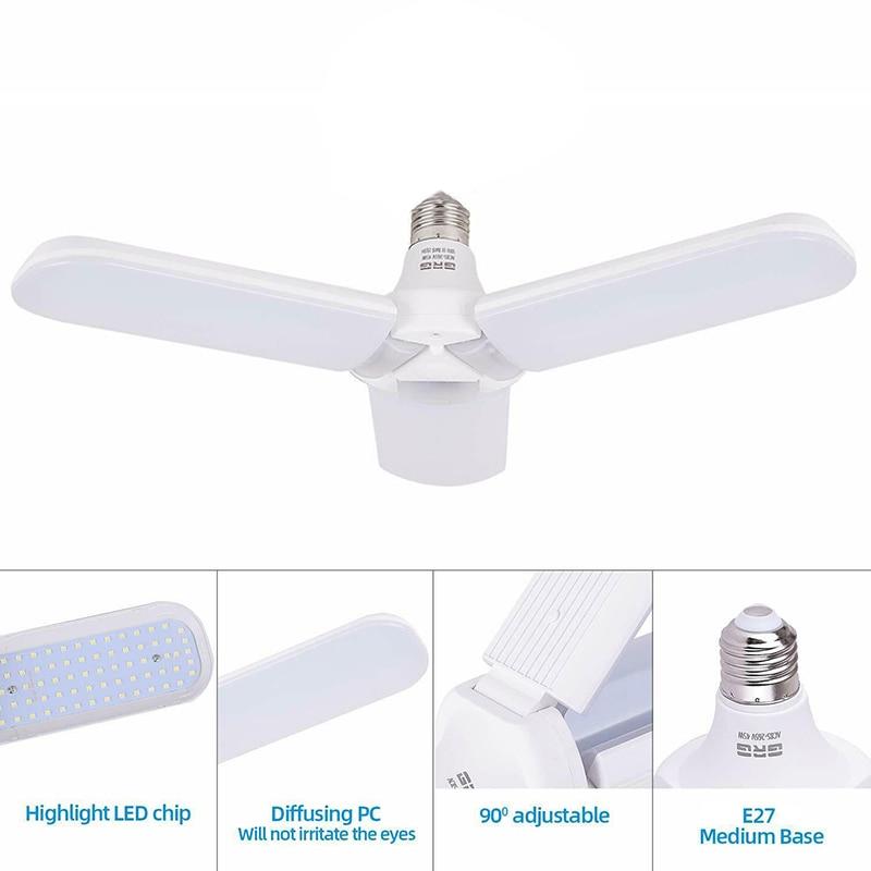 45W AC 95-265V Deformable 228 LED Garage Light Overhead Adjustable Waterproof Ceiling Light For Home Basement Warehouse