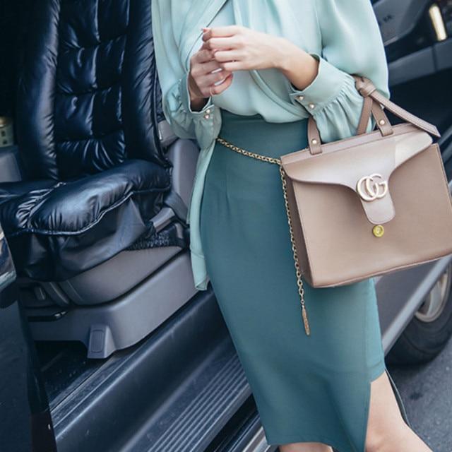 The 2020 autumn new women's Korean fashion show thin high waist skirt women's skirts pure color 4