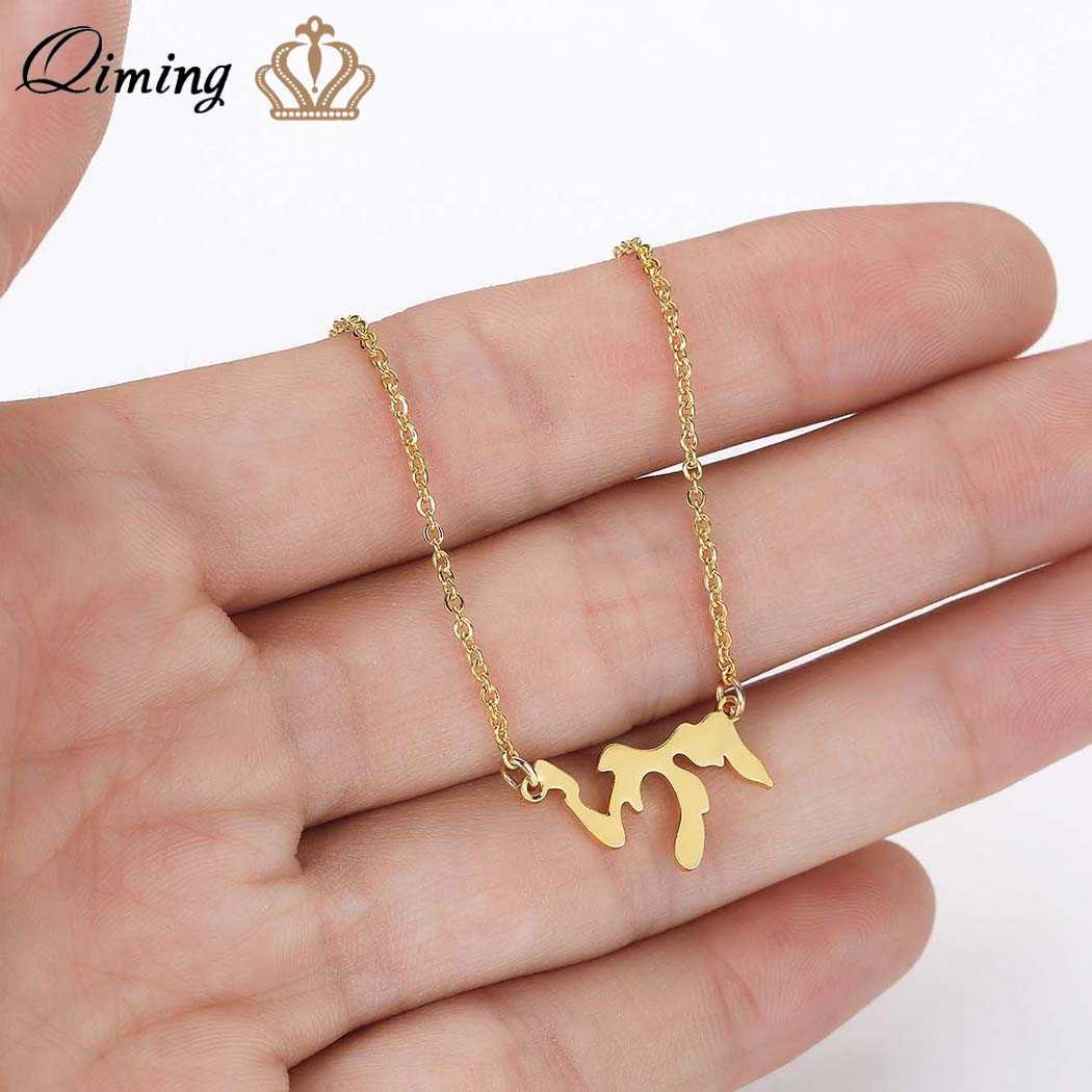 QIMING Dainty Great Lakes Pendant Necklace For Women Men Jewelry Vintage Retro Tibetan Stainless Steel Necklace Gift