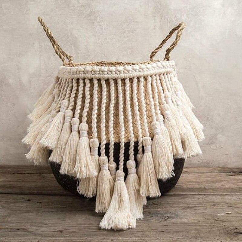 Nordic Macrame Home Organizer Plant Basket Woven Wicker Basket Handmade Boho Decor Seagrass Garden Flower Pots Storage Rattan