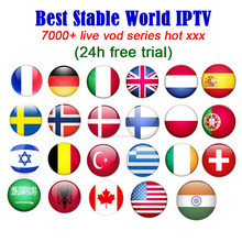 Best stable IPTV subscription 7500 4K HD live Germany Sweden France Spain Canada USA free trial m3u hot xxx smart android tv box(China)