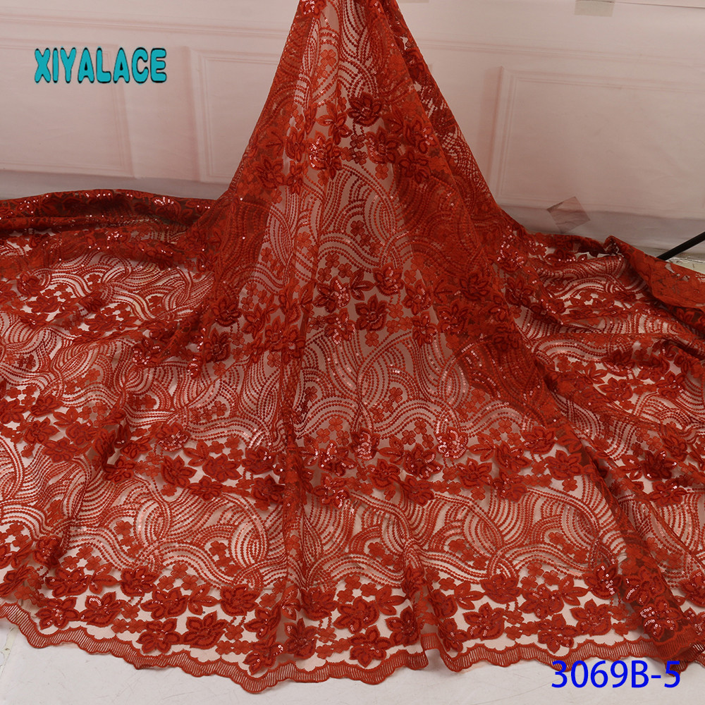 African Lace Fabric 2019 High Quality Beaded Nigerian Lace Fabric Embroidery French Tulle Lace With Sequins For Bridal YA3069B-5
