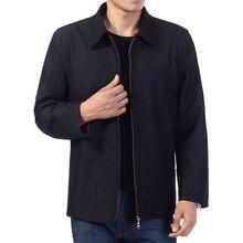 Men Autumn Spring Jackets Smart Casual Basic Coat Turn Down Collar Black Outerwear Mature Man Zipper Front Jacket Chinese Wear цена и фото