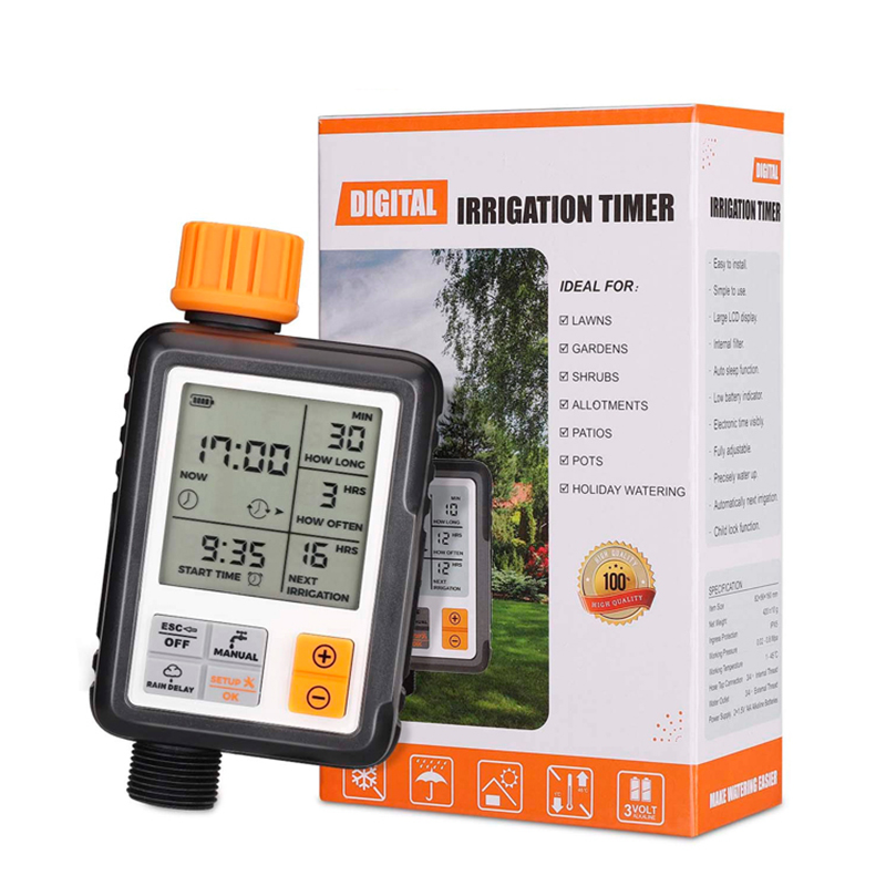 Outdoor Waterproof Automatic Electronic Irrigation Controller Programmable Garden Watering Timer With Digital LCD Display