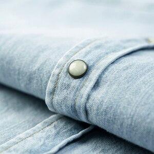 Image 5 - KUEGOU 2020 Mùa Thu 100% Cotton Áo Sơ Mi Denim Nam Váy Đầm Slim Fit Dài Tay Dành Cho Nam Thương Hiệu Thời Trang Plus Kích Thước quần Áo 6276